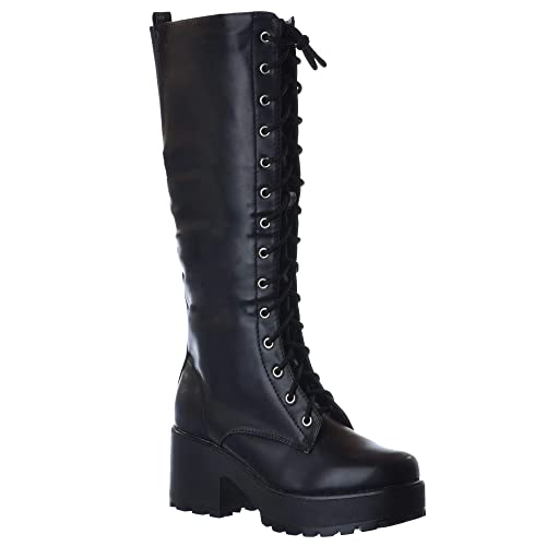 NEW para mujer traje de neopreno para mujer interior de lana para MID en el talón con plataforma para colgar ovillo de bloque de botas de cordones ZIP UP: ...