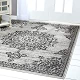 "Home Dynamix Nicole Miller Patio Country Azalea Indoor/Outdoor Area Rug 5'2""x7'2"", Traditional Medallion Gray/Black"