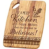 Messy Kitchen Happy Kitchen Rooster Tiger Wood Cutting Board with Handle