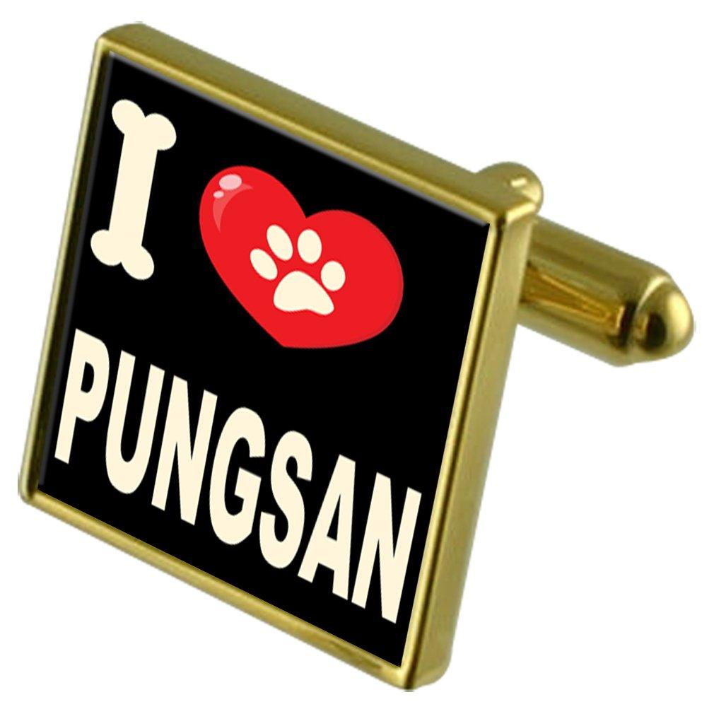 Pungsan Select Gifts I Love My Dog Gold-Tone Cufflinks /& Money Clip