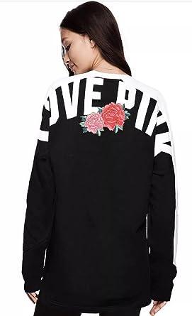 a614a5ba89331 Victoria's Secret Pink Lace Up Varsity Crew, Black-White-Roses ...
