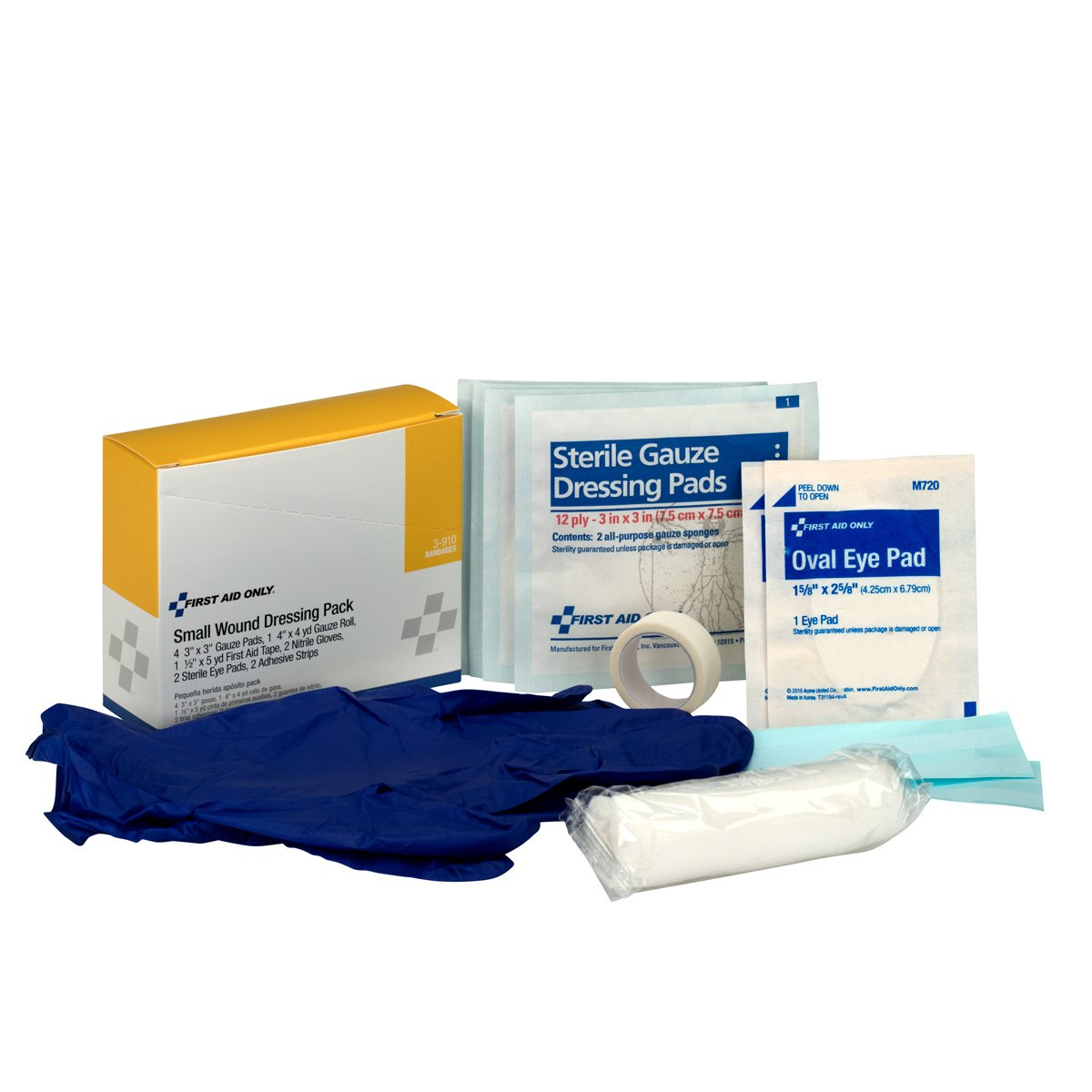 First Aid Only 3-910 8 Piece Small Wound Dressing Kit, For 10 Person First Aid Kits