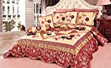 Tache Home Fashion Rose Garden Floral Patchwork Comforter Bedding Set, Full, Red/Gold