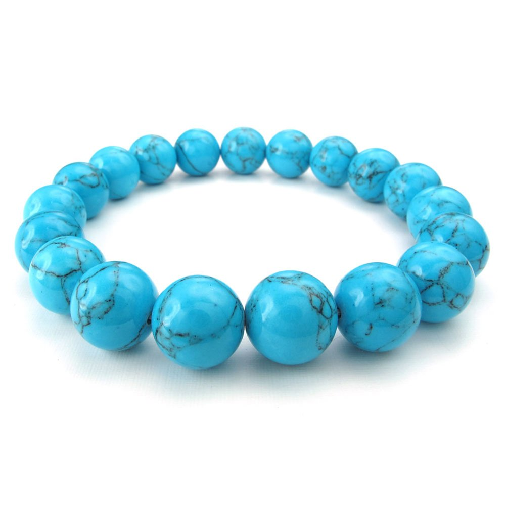 TEMEGO Jewelry Womens Mens Natural Stone Blue Turquoise Classic Beads Stretch Bracelet, Link Wrist Strand Bracelet, Blue Silver,10-12mm 201500030