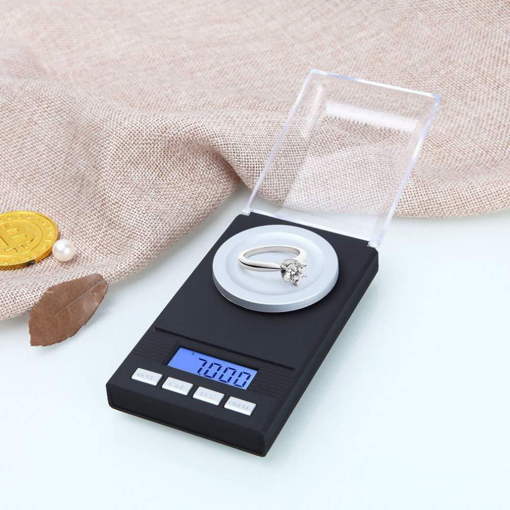 Shangcer Balanza de Joyería 0.001g x 50g Negro Ligero Báscula de Bolsillo para Monedas Polvo Oro Joyería Medicación Alta precisión Portátil Báscula Digital: ...