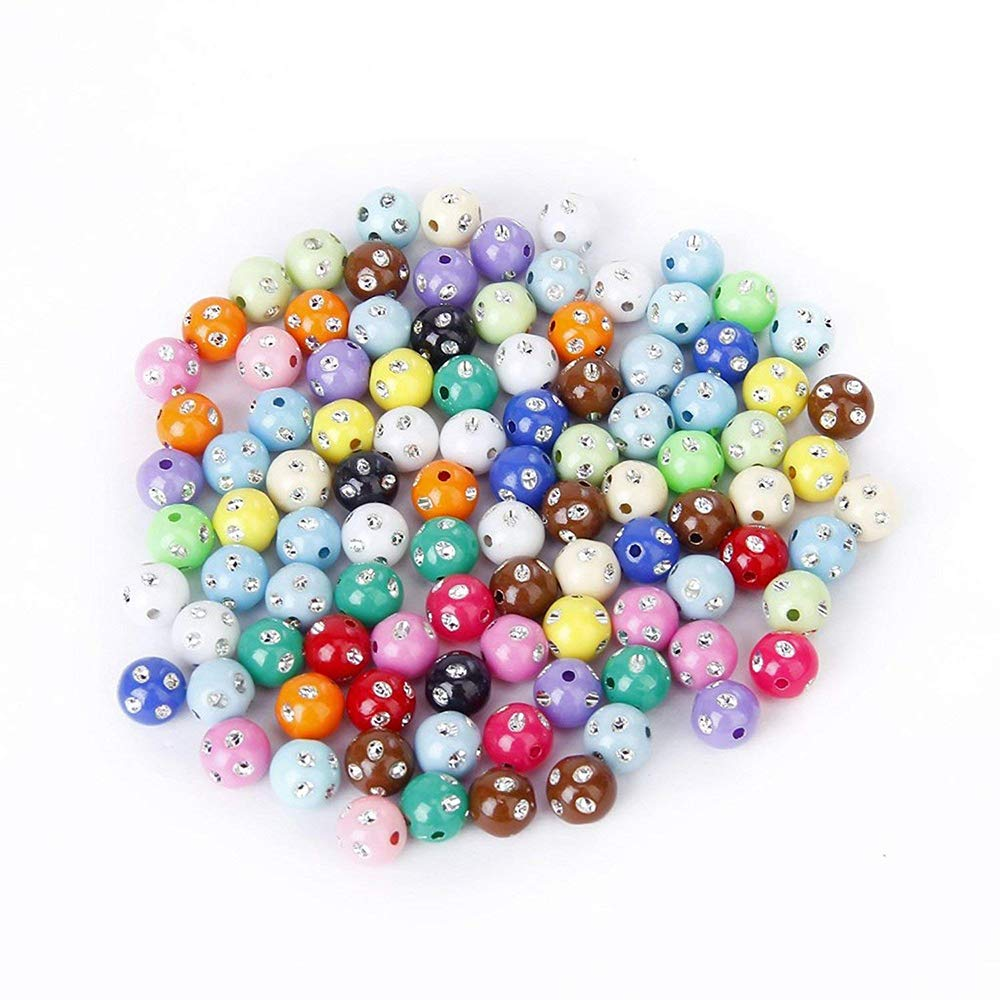 Ogquaton Abalorios de Diamantes de imitació n Accesorios Hechos a Mano de plá stico Brillo Perlas de acrí lico Coloridas para Hacer Joyas 100 PCS