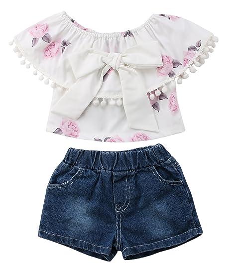 c25ef25b4d76 Amazon.com: Emmababy Toddler Baby Girls Kids Tassel Floral Off Shoulder  Crop Top + Shorts Denim Pants Outfit Set: Clothing