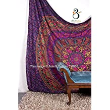 Tapestry Queen Purple Flower Beautiful Artwork Mandala Mandala Beach BedSpread Intricate Indian Bedspread Tapestries 92x82 Inches Aakriti Gallery