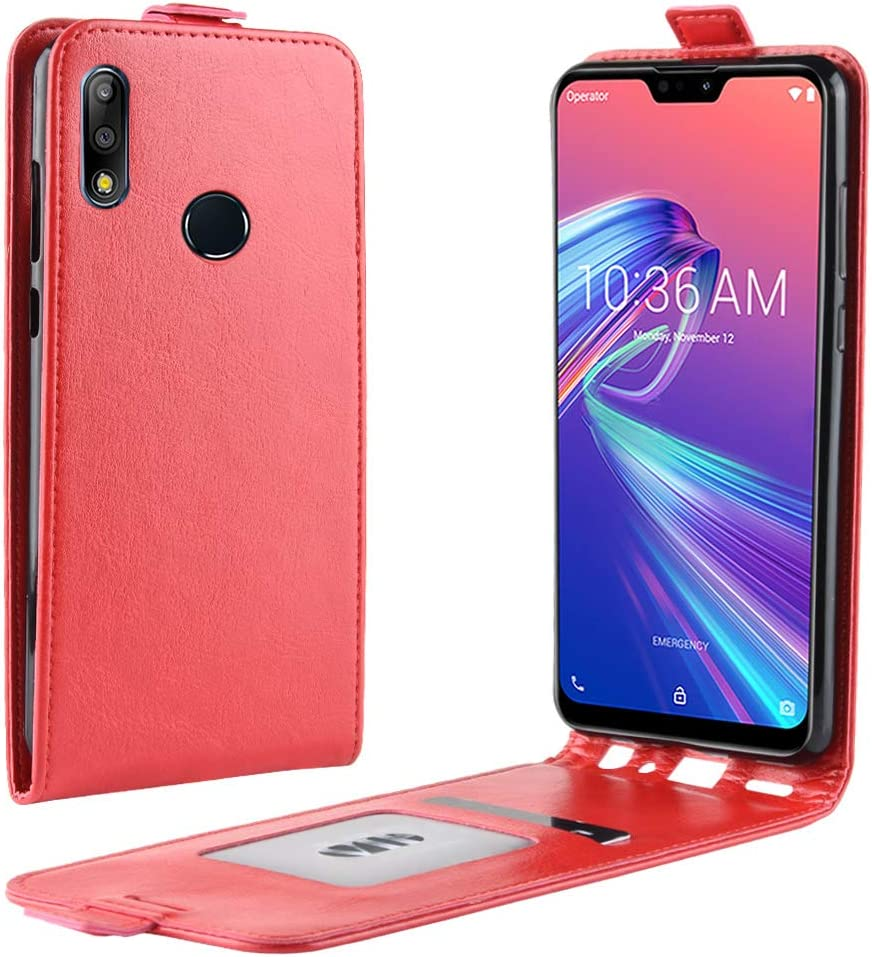 M2 winxsam Coque pour ASUS Zenfone Max Pro ZB631KL,PU et Cuir Cover Flip Case Housse Support /à Carte de cr/édit magn/étique Kickstand Translucide Standing Support Antichoc T/él/éphone Portable-Marron