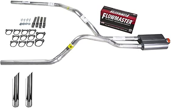 Truck Exhaust Kits DIY dual exhaust system 2.5 SS pipe Flowmaster Super 40 SC Tip