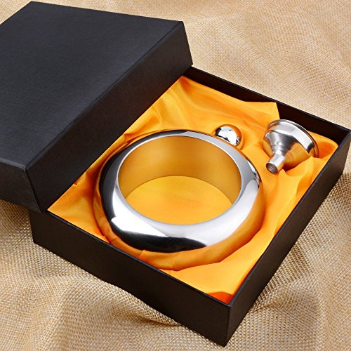 Liquor Flask for Women with Funnel - Stainless Steel Bangle Bracelet Flask Alcohol Wrist Jewelry (Sliver) by CCJK