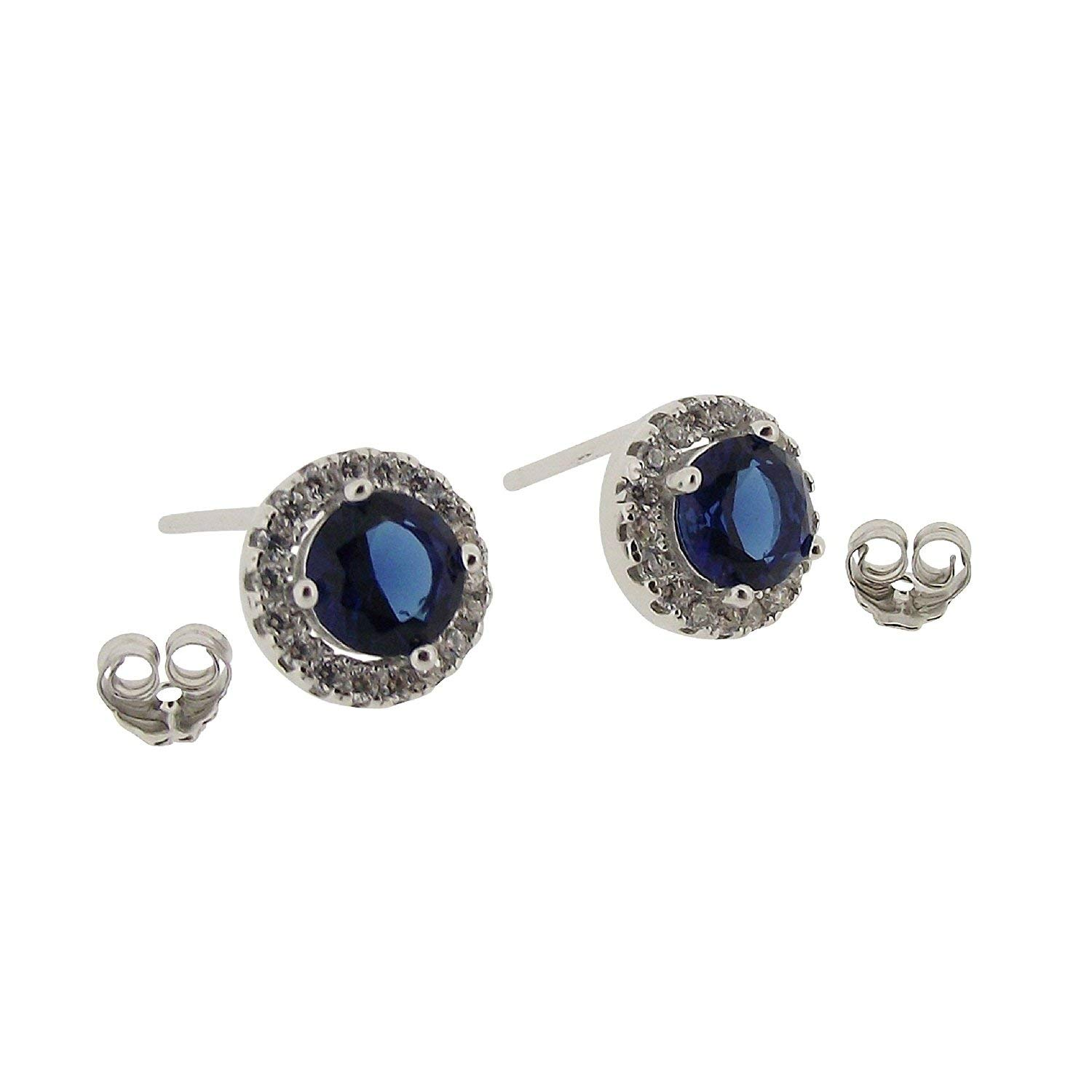 TOC Sterling Silver Royal Blue Rhinestone Round Stud Earrings 7mm