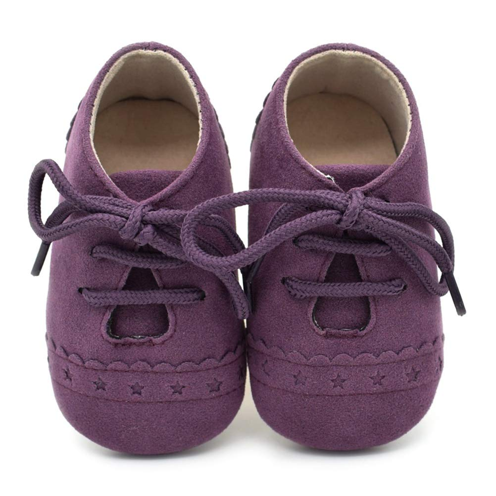 Baby Boy Girls Soft Suede Moccasins Sole Lace-up Shoes Infant Toddler First Walker Shoes