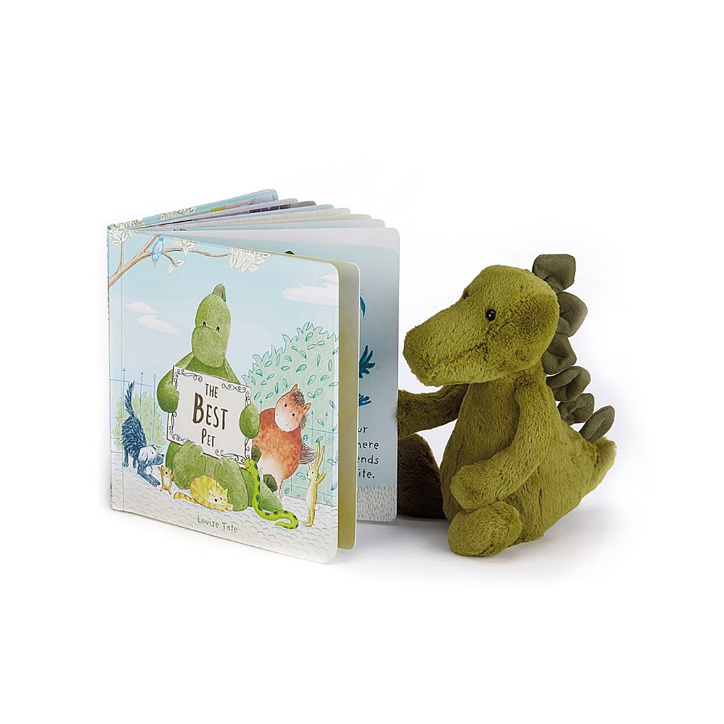 Jellycat The Best Pet Board Book and Bashful Dino, Medium - 12 inches