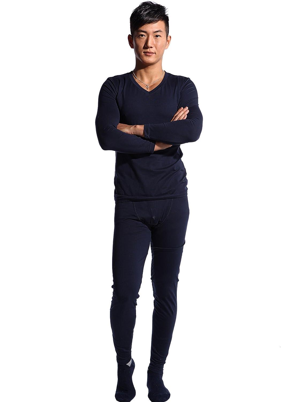 Godsen Men's Cotton Thermal Underwear Long Johns Sets Royal Blue) 8521601