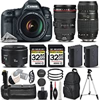 Canon EOS 5D Mark III DSLR + Canon 24-105mm f/4L IS USM Lens + Canon 50mm 1.8 II Lens + Tamron 70-300mm Lens+ Battery Grip + Backup Battery. All Original Accessories Included - International Version