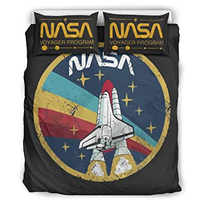 VVEDesign NASA Stars Quilt Set Full/Queen Microfiber Soft 1 Quilt Cover + 1 Pillow Sham for Boys Bedroom White 90x90 inch: Kitchen & Dining