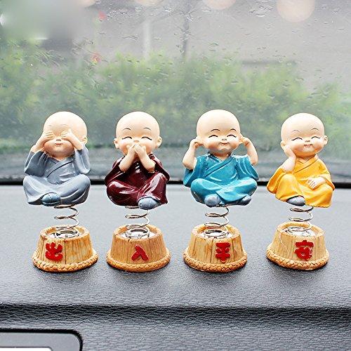 4pcs Cute Monk Car Interior Display Decoration Car Ornament Car Home Decor Gift (E)