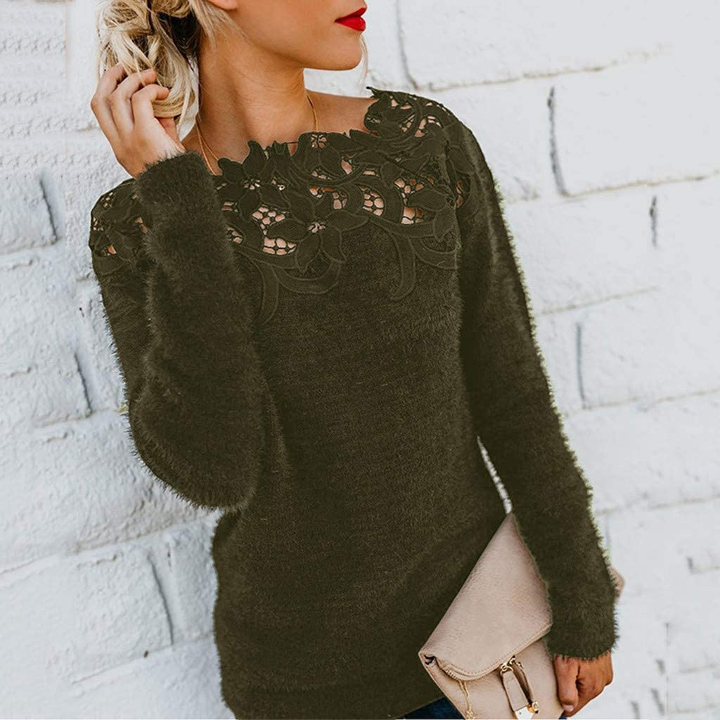 Libermall Women Long Sleeve Pullover Fluffy Fuzzy Sweater Shirt Lace Patchwork Loose Jumper Tunic Pullover Sweatshirts