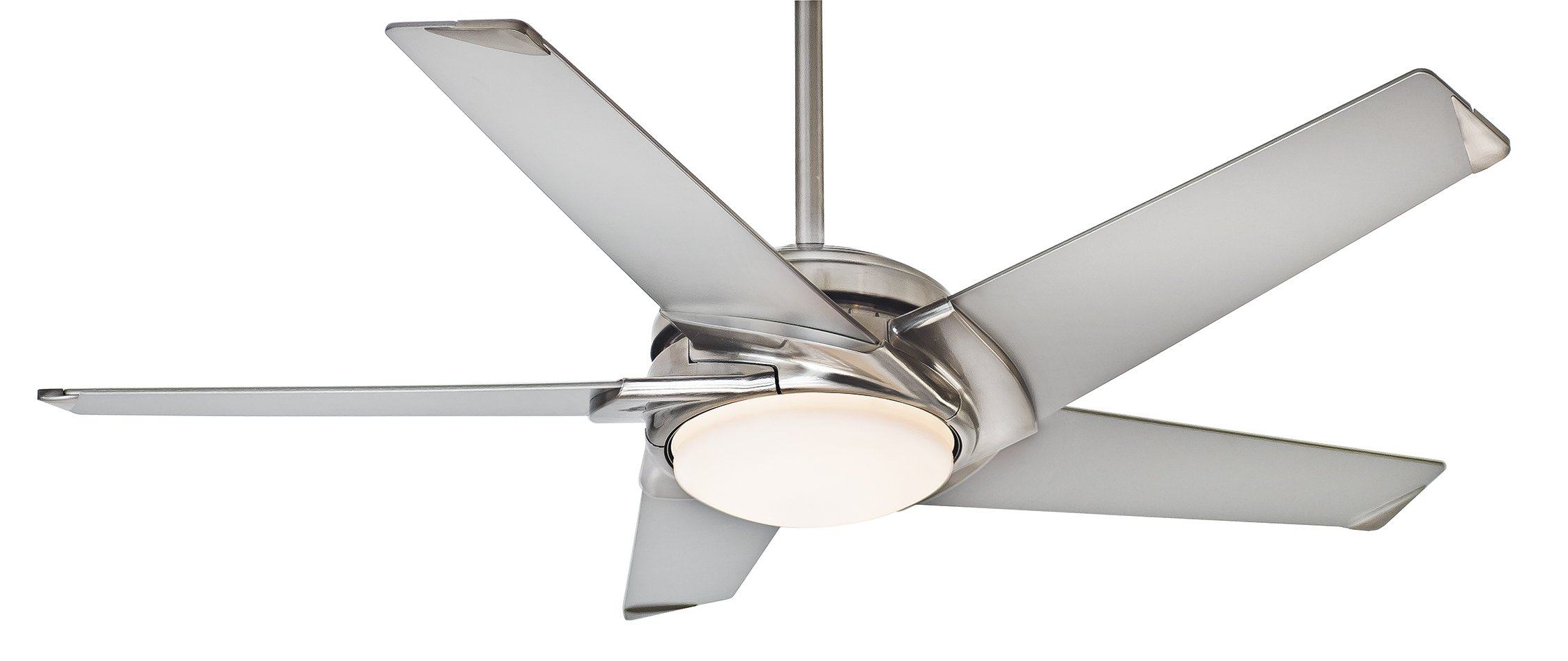 Casablanca Fan Company 59094 Stealth 54-inch Brushed Nickel Ceiling Fan with Platinum Blades and Cased White Glass Light