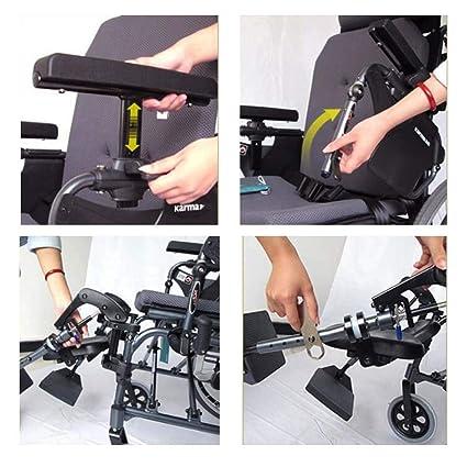 GJX Silla de Ruedas Multifuncional para Personas Mayores, la aleación de Aluminio Puede ser Completamente reclinable con Silla de Ruedas con Respaldo Alto, ...