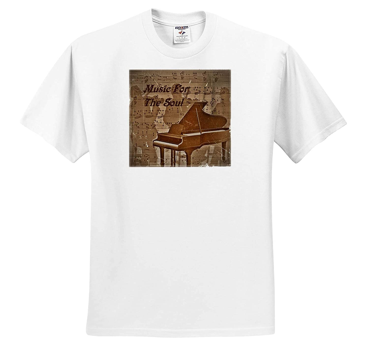Image of Vintage Music Sheet and Piano with Music for The Soul Music T-Shirts 3dRose Lens Art by Florene