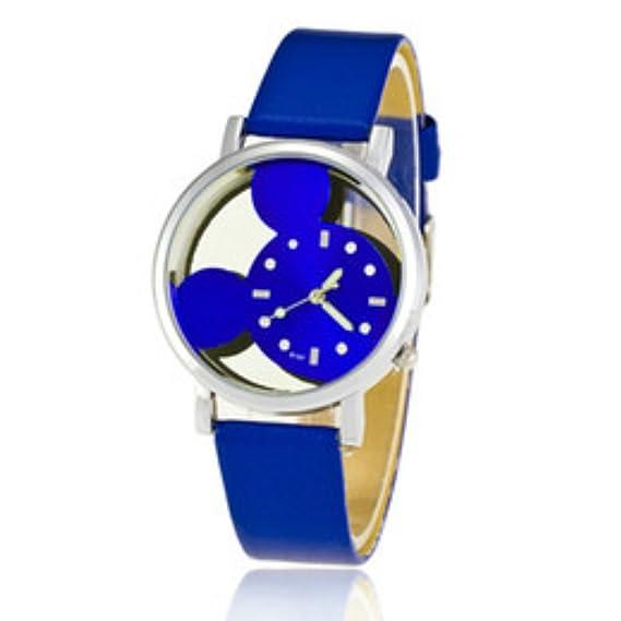 Mickey Mouse hueca de Digital de cuarzo reloj de pulsera de mujer, color azul: Amazon.es: Relojes
