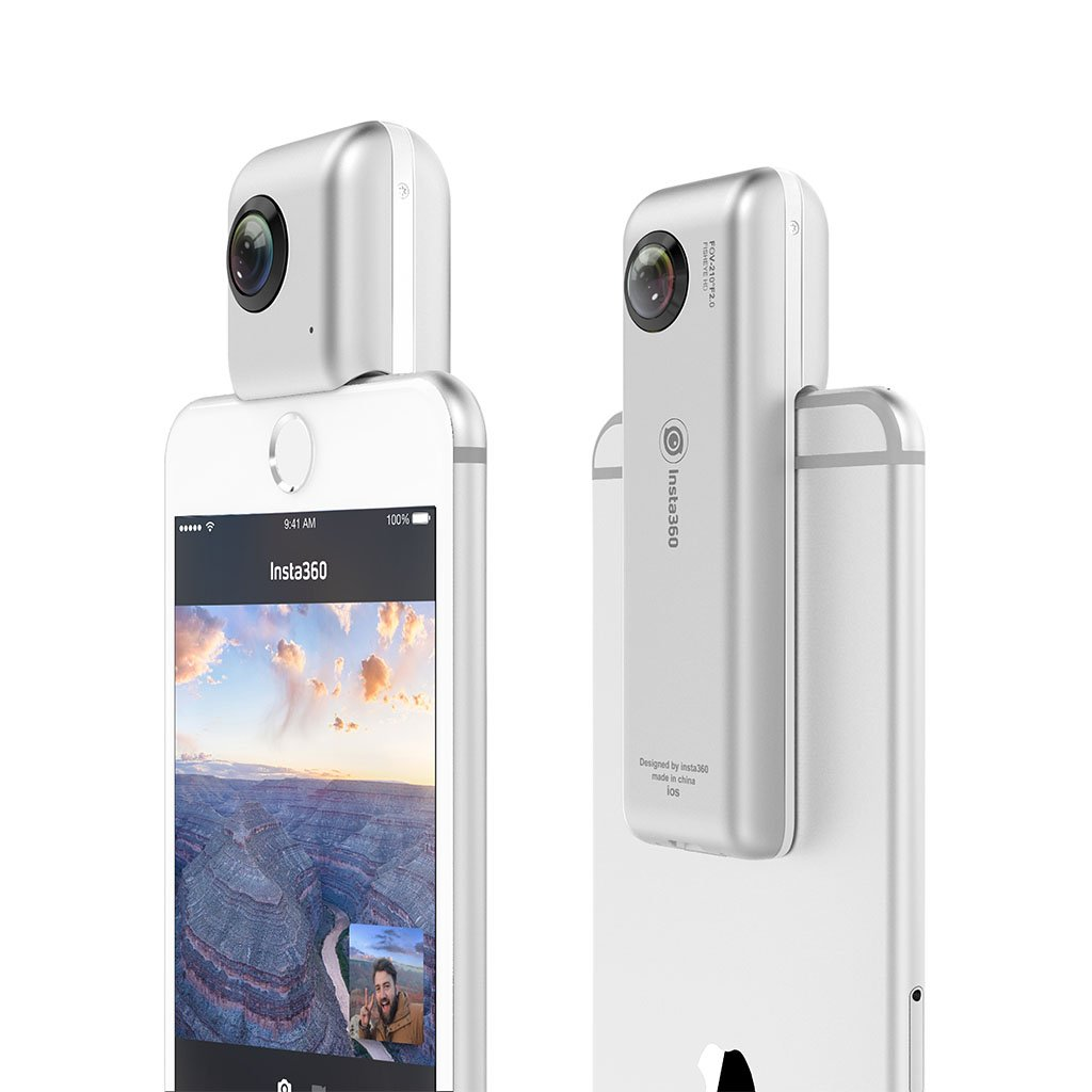 Insta360 Nano 360 Degree Camera VR 3D Panoramic Point and Shoot Digital Video Cameras 3K HD Dual Wide Angle Fisheye Lens for iPhone 7, 7 Plus and all iPhone 6 series, 360 Live on Facebook- Pearl White by Insta360