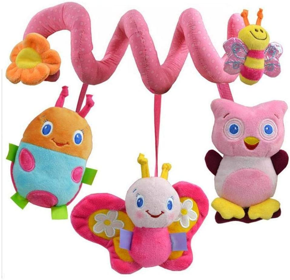 Uteruik Infant Baby Activity Spiral Plush Toy Bed Crib Stroller Toy Hanging Baby Rattle Toys for Newborn Girls Boys Toddlers Style-C