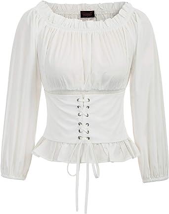SCARLET DARKNESS Camisa de Verano Elegante renacentista gótica Vintage para Mujer sin manicha Blusas sin Mangas: Amazon.es: Ropa y accesorios