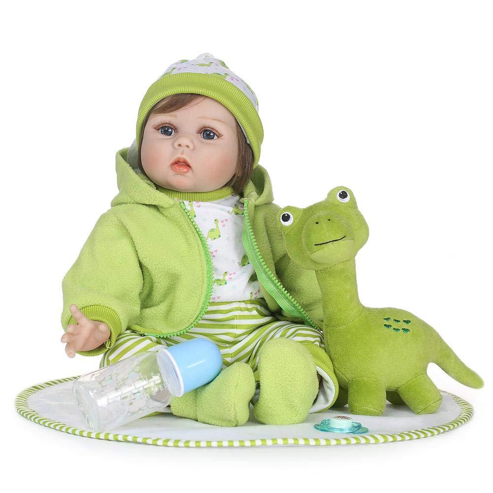DomyBeste Reborn Baby Puppe Puppe Baby Schnuller Silikon 55cm Mädchen Spielzeug Wie echt Lebensecht