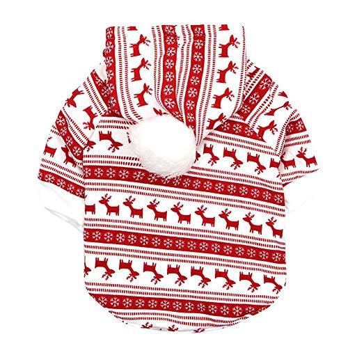 (Elogoog Puppy Kitten Christmas Printed Hoodie Small Pet Dog Soft Warm Thicken Sweatshirts Clothing (XS,)