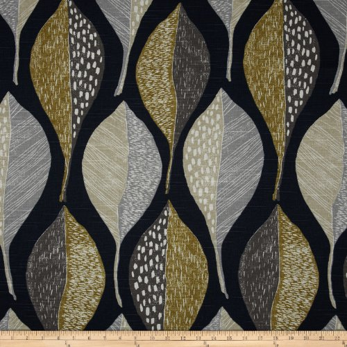 Robert Allen @ Home Woodblock Leaf Fabric, Indigo