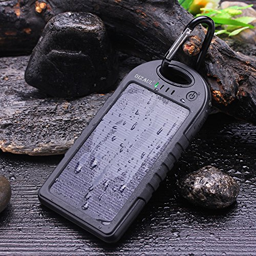 Price comparison product image Solar Charger,Dizaul 5000mAh Portable Solar Power Bank Waterproof/Shockproof/Dustproof Dual USB Battery Bank for cell phone,iPhone,Samsung,Android phones,Windows phones,GoPro Camera,GPS and More