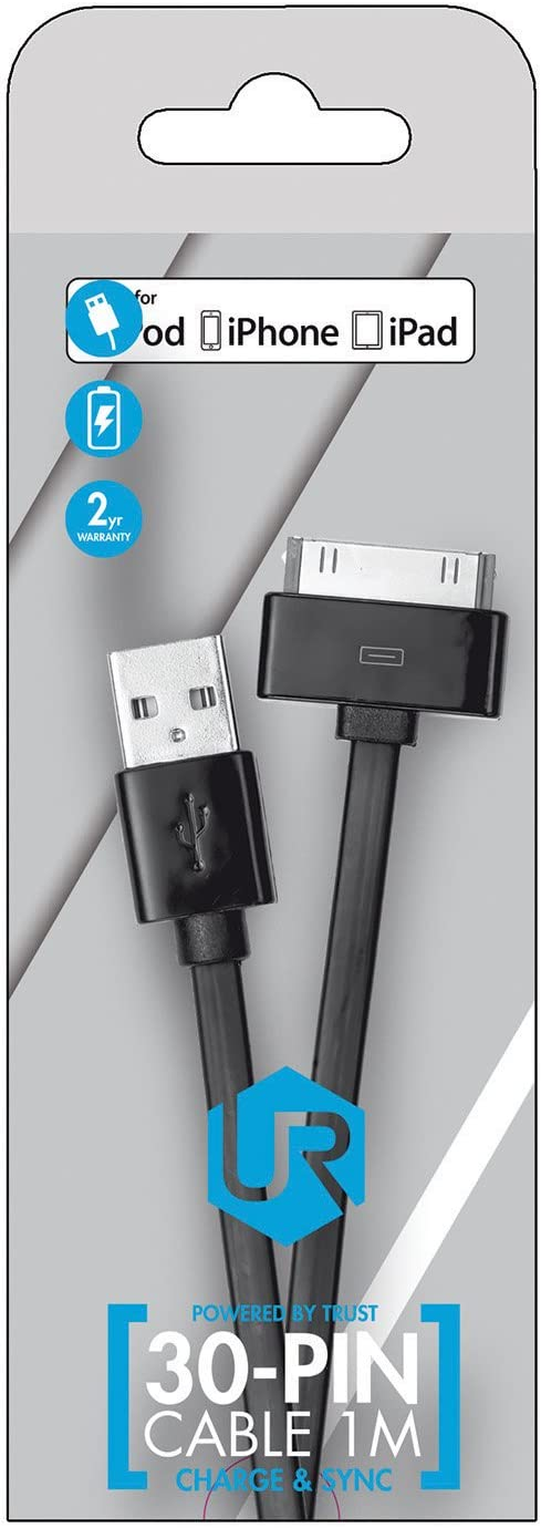 Black Trust Urban 1 m Flat 30 Pin Dock Cable for Apple iPad and Apple iPhone Apple Certified