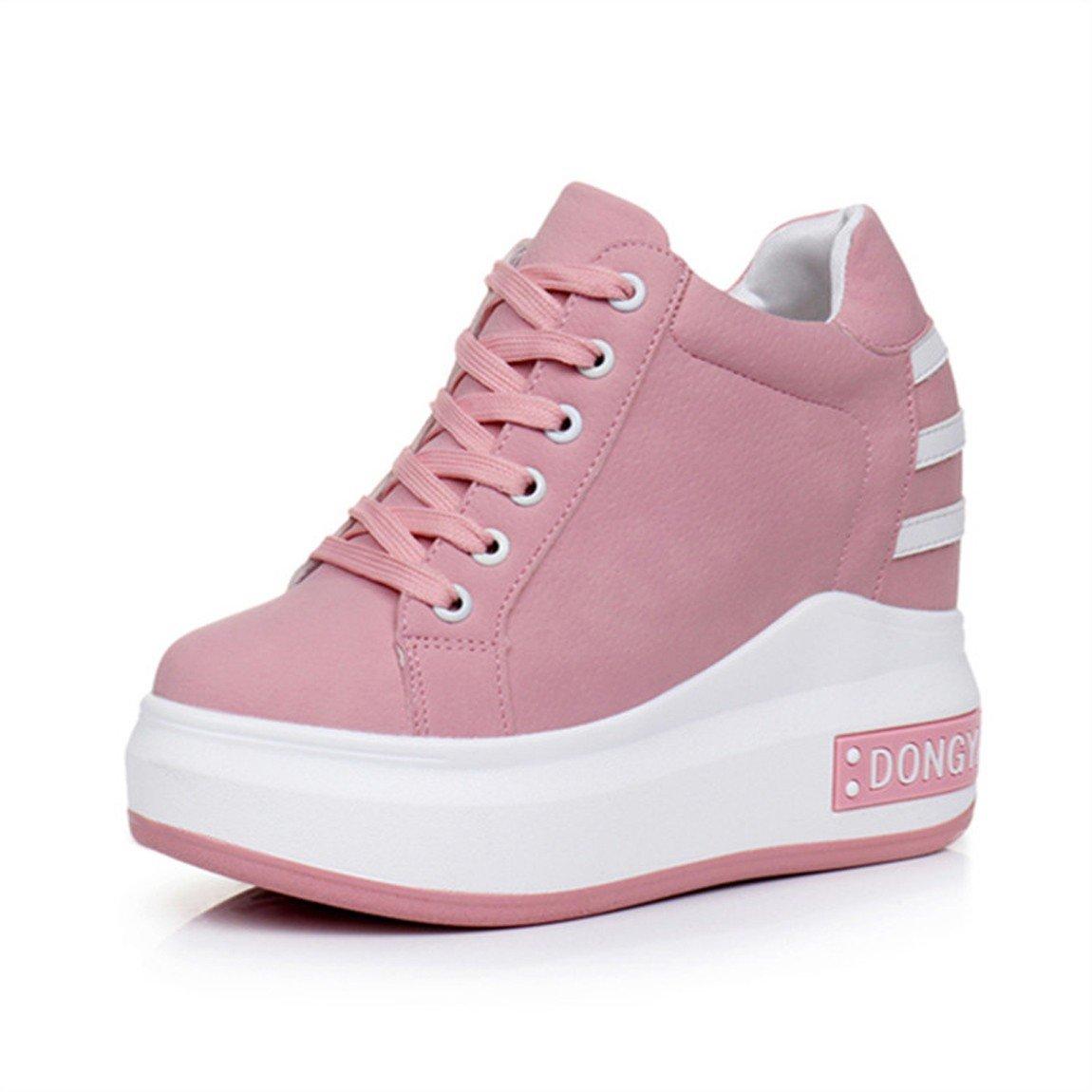 GTVERNH Zapatos de mujer/En Primavera Zapatos De Mujer Están Aumentado En Boca Superficial Rosa Magdalena Solo Zapatos Rough Bottom Cuero Inclinados Casual Zapatos De Los Deportes.Treinta Y Cinco Pink Thirty-five|Pink