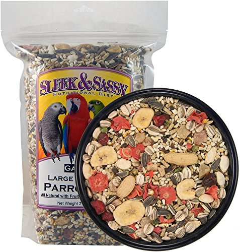 Sleek & Sassy Garden Large Hookbill Parrot Food for Large Conures, Amazons, African Greys, Cockatoos, Pionus-Parrots & Small Macaws (2 -