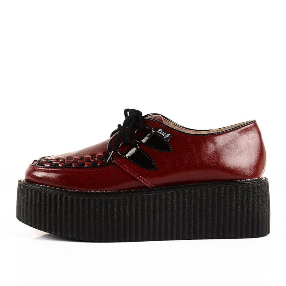 5b718da49 RoseG Womens Wine Red Leather Lace Up Goth Punk Flats Platform Creeper Shoes  Clothing, ...