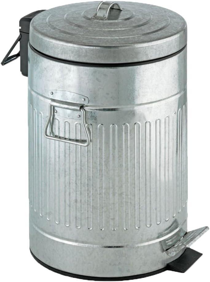 WENKO 18689100 Pedal bin New York Easy Close - soft closing mechanism, sheet metal look, capacity 3.17 gal, Zinc plated metal, 10 x 16.5 x 10 inch, Matt,silver matt,Medium