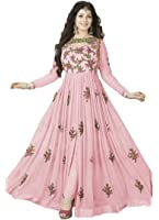 Clothfab Women Georgette Heavy Embroidery Work Pary Wear Anarkali Style Semi-Stitched Salwar Suit Dress Material With Dupatta (Pink-Colour)