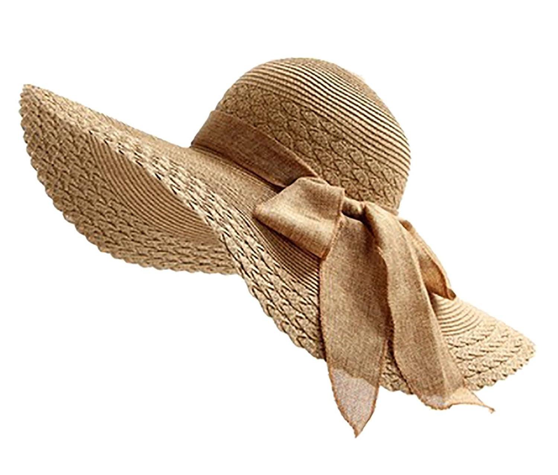 5ca5f65318a IL Caldo Womens Folding Floppy Derby Hat Wide Large Brim Bow Beach Sun Cap