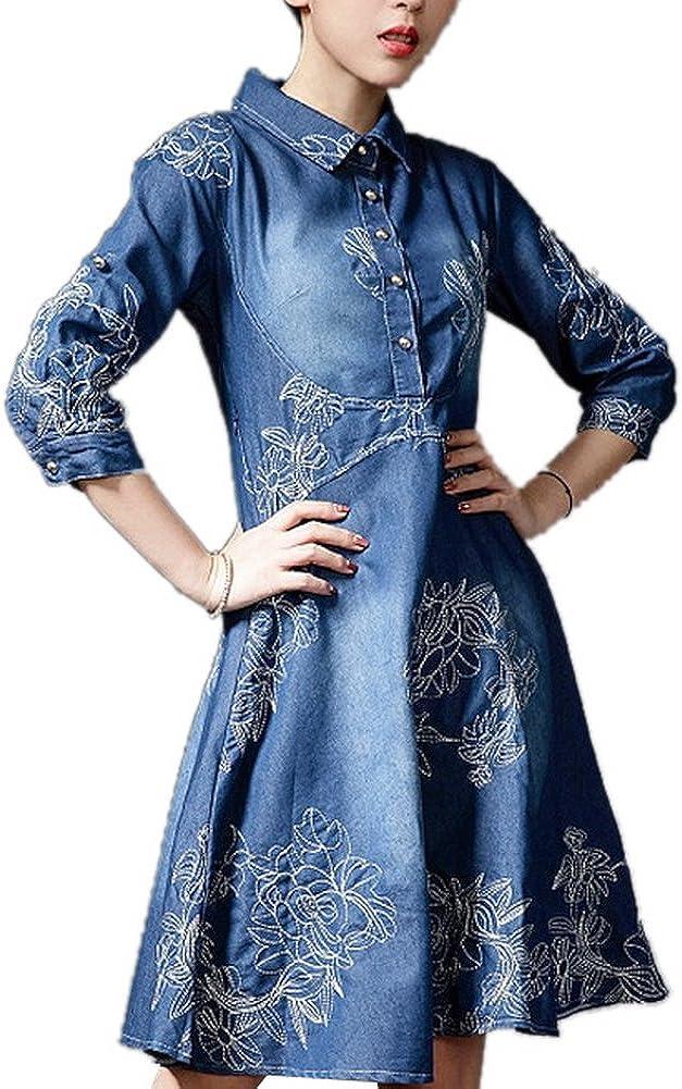 Luodemiss Womens Fashion Elegant Slim Embroidered Denim Knee Length Swing Mini Dress
