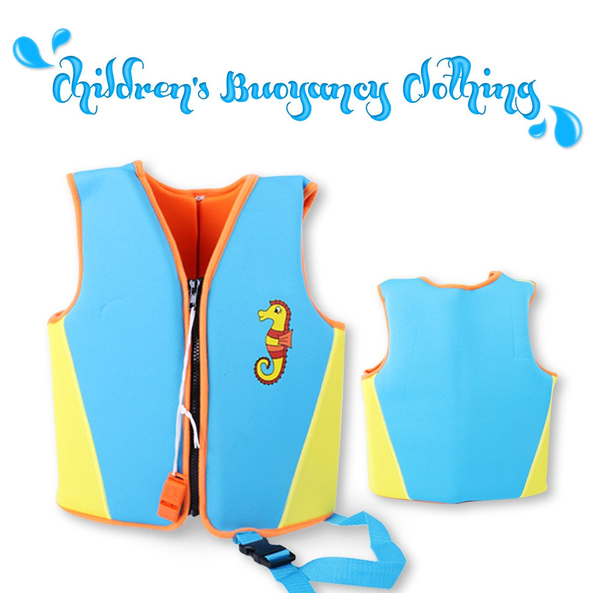 SymbolLife Kids SwimトレーナーベストプールFloatsネオプレンライフベスト子浮力衣類、水泳学習者保護ベスト Large ブルー B07D76YD1M