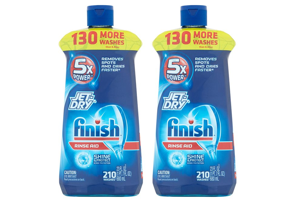 Finish Jet-Dry Dishwasher UVxKz Rinse Aid Agent, 210 washes, 23 oz, Removes Spots, Glass Protection, 23 oz (2 Pack)
