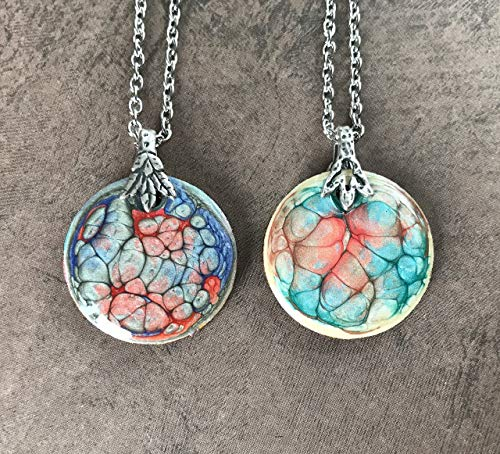- Double Sided Hand Painted Round Pendant Necklace Abstract Jewelry Art Lovers Gift