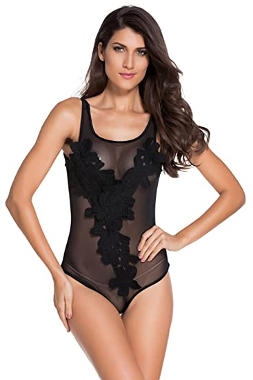478fd6a051 Image Unavailable. Image not available for. Color  Women Sexy Black  Sleeveless Floral Embroidered Sheer Mesh Bodysuit ...