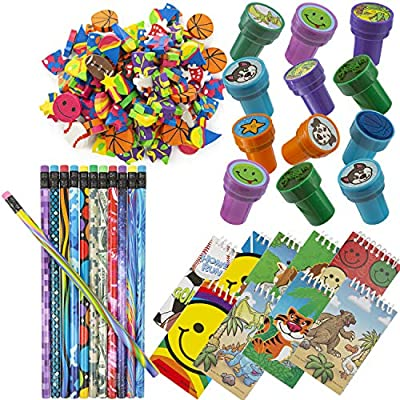 Favonir Assorted Party Souvenir Favors 84 Bundle | Mini Notebooks, Erasers, Stampers & Pencils in Variety of Styles | Kids Birthday Party Supplies Bulk Set: Toys & Games