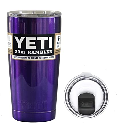 a274cae83bc YETI Coolers 20 Ounce (20oz) (20 oz) Custom Rambler Tumbler Cup Mug Bundle  with New Magslider Spill Proof Lid (Purple Metallic)