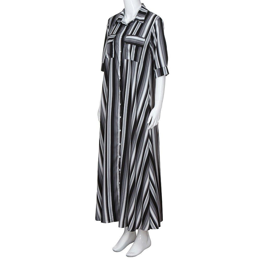 Fanyunhan Women Half Sleeve Striped Dress Multicolor Loose Button Maxi Dress Boho Beach Sundress Robe Dress Black by Fanyunhan Dress (Image #4)