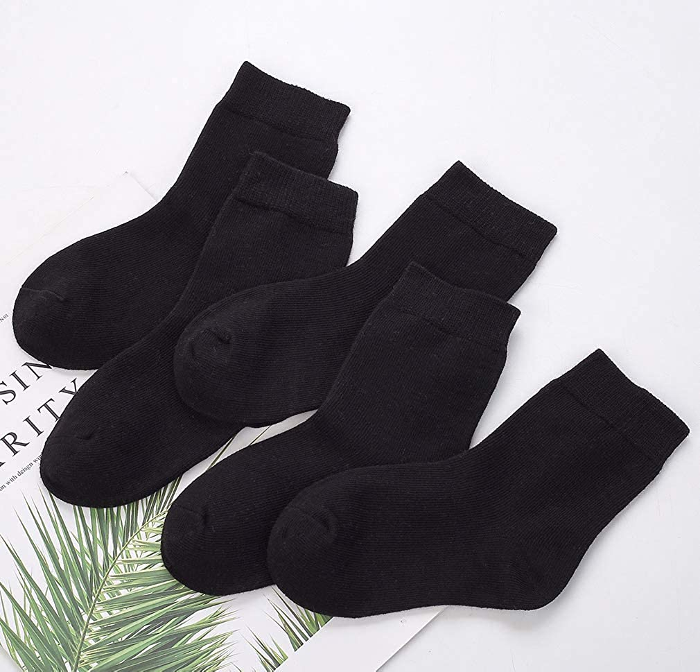 CHUNG Toddler Boys Girls 10 Pack Athletic Cotton Basic Crew Socks Autumn School Uniform Casual Sports